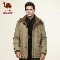 骆驼男装 新款直筒棉服 男士加厚保暖棉服 中长款外套