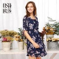 欧莎夏装女2017夏装新款女装 时尚印花收腰气质短袖连衣裙B13058