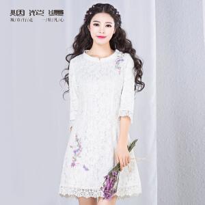 烟花烫2017夏装新款女装复古修身纯色七分袖蕾丝连衣裙如霜
