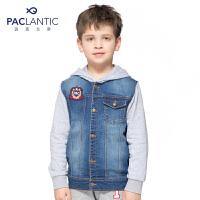 派克兰帝品牌童装 男童春装秋装 水洗拼接连帽牛仔夹克  儿童外套