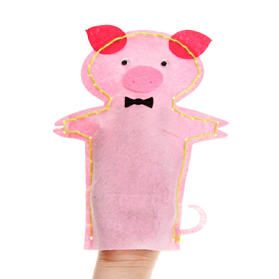 手工制作diy动物贴画创意针线缝制玩偶 布艺手偶 不织布手偶_03号粉猪
