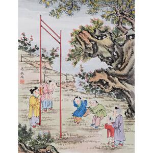 林徽因《童趣》纸本镜心