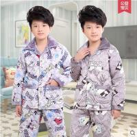男童睡衣 家居服套装 加厚睡衣 法兰绒儿童睡衣加厚款男孩珊瑚绒中大童长袖男童家居服套装