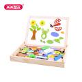 米米智玩 儿童磁力片动物磁性拼拼乐木制玩具双面画板儿童立体拼图写字黑板积木玩具