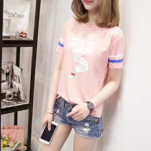 T恤女短袖学生韩国宽松百搭字母印花大码半袖夏季新款JM028-7101