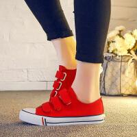 GFLA/杰飞乐魔术贴帆布鞋女布鞋厚底鞋夏白色休闲鞋韩版板鞋学生