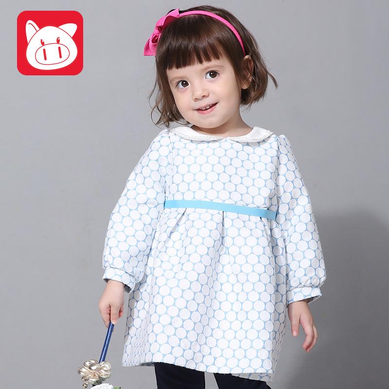 小猪班纳童装宝宝连衣裙秋女童圆点长袖连衣裙小童休闲可爱裙子