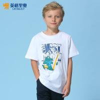 童装男童t恤短袖纯棉夏装2017新款中大童圆领白色儿童半袖体恤衫