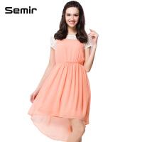 森马 女装夏装新款 甜美气质连衣裙 套头拼接蕾丝套头连衣裙潮
