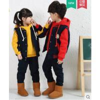 精致印花舒适保暖小学生校服卫衣三件套 纯色气质加厚儿童英伦班服