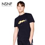 NSNF纯棉手绘黑金图案黑色短袖T恤 2017年春夏新款