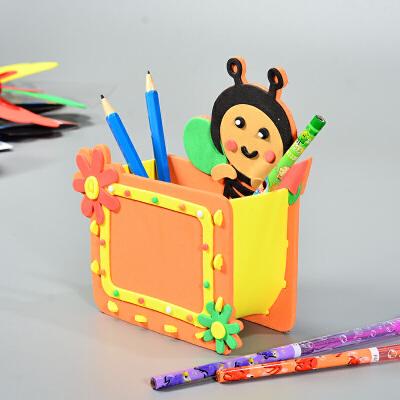儿童手工制作diy材料包 eva笔筒 幼儿园礼物diy创意益智拼装玩具_蜜蜂
