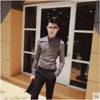 青年英伦潮寸衫 条纹长袖衬衫男发型师衬衣修身韩版