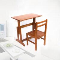竹山下学习桌学生写字桌椅套装小学生写字台可升降实木儿童书桌