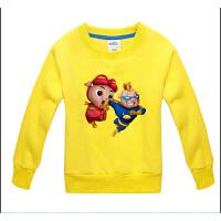 猪猪侠超人强童装 儿童加厚无帽绒衫 男女童大小童宝宝套头卫衣