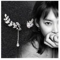 925纯银耳钉  不对称 女 韩版 时尚 甜美银饰耳 坠耳环耳饰 品防过敏