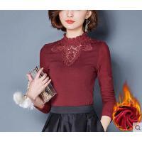 秋冬新款修身小衫高领大码网纱上衣加绒加厚蕾丝打底衫女长袖
