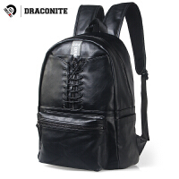 【支持礼品卡支付】DRACONITE潮牌纯色双肩包男pu亮皮细绳束带拉链双肩书包背包11632
