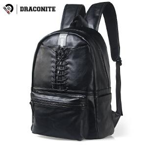 DRACONITE潮牌纯色双肩包男pu亮皮细绳束带拉链双肩书包背包11632