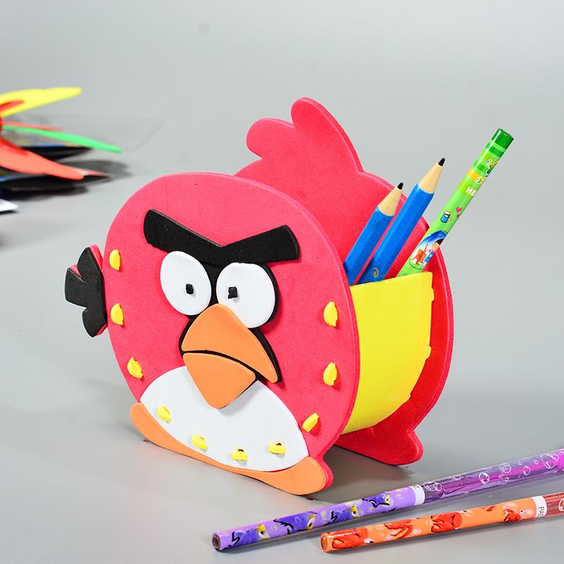 儿童手工制作diy材料包 eva笔筒 幼儿园礼物diy创意益智拼装玩具_小鸟