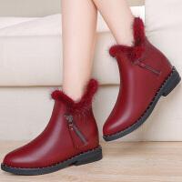 古奇天伦 内增高貂毛女靴子 侧拉链纯色女短靴 防水台女鞋子 8528
