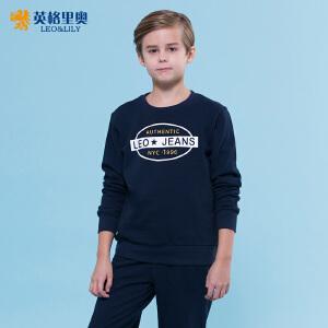 英格里奥2017春装新款男童青少年卫衣裤两件套中大童运动休闲圆领卫衣套装
