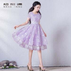 烟花烫2017夏装新款原创女装气质修身甜美印花连衣裙紫霞仙子