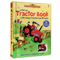 现货 发条拖拉机 英国进口正版纸板玩具书 游戏轨道书 Wind-up Tractor Book Farmyard Tales 英文原版 Usborne亲子系列