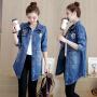薇小歪  2017春季新款韩版修身字母印花牛仔外套女中长款百搭长袖牛仔风衣BMA117-9317