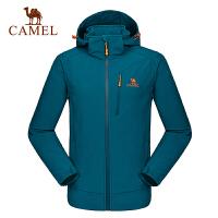 camel骆驼户外男款软壳衣 保暖耐磨开衫软壳衣