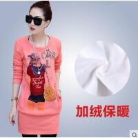 印花修身长袖T恤   新款加绒加厚打底衫女  韩版女装  潮