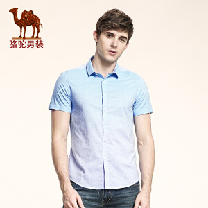 骆驼男装 夏季新款柔软渐变尖领修身纯棉日常休闲短袖衬衫男