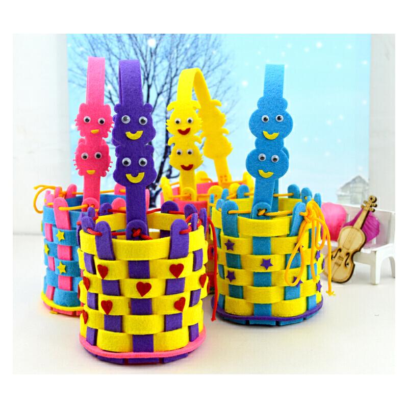 diy儿童手工不织布编织篮制作材料包幼儿园手工提手