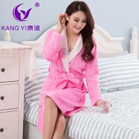 香港康谊睡衣女冬 珊瑚绒新款纯色女士 睡衣睡袍厚款家居服浴袍女