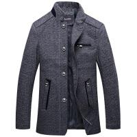 伯思凯新款秋冬男士羊毛呢大衣立领中长款风衣商务休闲单排扣外套