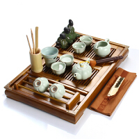 尚帝 陶瓷紫砂茶具套装 柏木咖色杯架-汝窑茶具套装XMBH2014-055A1