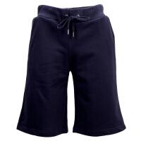 VERSACE JEANS藏青色纯棉纯色系带设计男士运动五分裤