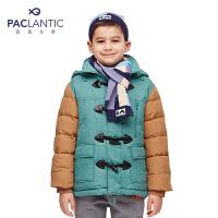 派克兰帝品牌童装 专柜同款冬装男童时尚撞色拼接中长款儿童羽绒服
