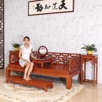 包邮简迪红木家具实木罗汉床三件套中式古典花梨木床榻仿古床罗汉榻红木古代床沙发床