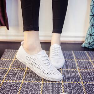 2017小白鞋透气皮面帆布鞋女镂空平底韩版休闲单鞋系带低帮鞋