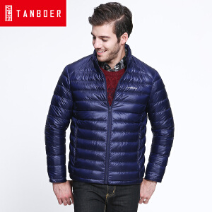 坦博尔新品轻薄立领羽绒服男士休闲直筒短款韩版潮羽绒外套TF3381