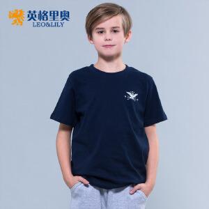 2017童装男童短袖T恤衫纯色薄款夏装中大童上衣休闲圆领体恤打底衫