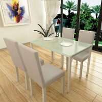 择木宜居 长方形餐桌 饭桌台 桌椅子套装 钢化玻璃餐桌 餐桌椅子组合