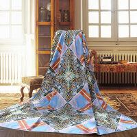 富安娜家纺床上用品春秋冬毛毯家居毯盖毯休闲毯法兰绒毯 时尚季