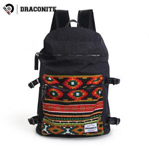 DRACONITE潮牌双肩包男女学生复古时尚刺绣绒布电脑旅行背包11618