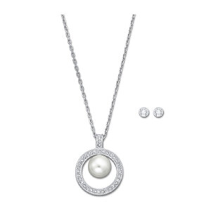 Swarovski/施华洛世奇 女士银白色优雅水晶套装项链*1 耳钉*2只 支持礼品卡支付