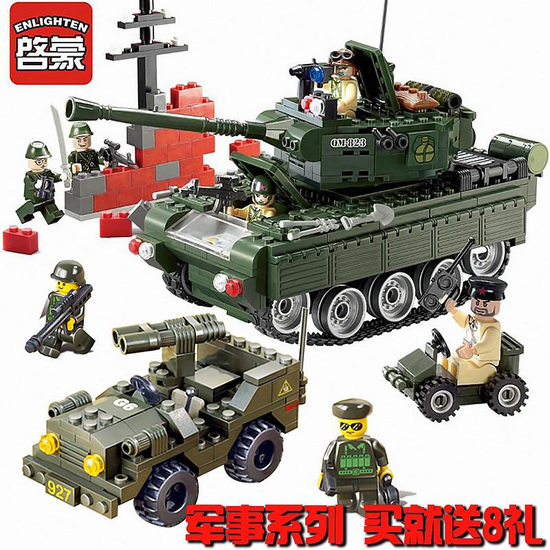 启蒙拼装积木玩具拼插部队悍马军车飞机大炮直升机坦克军事系列