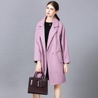 �莱呢子大衣女中长款2016新款秋冬韩版宽松学生茧型加厚毛呢外套