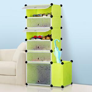 亚思特鞋柜带伞架防尘简易鞋柜DIY组合鞋架树脂收纳柜塑料柜子A20601