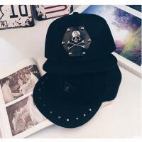 帽子 嘻哈帽 棒球帽 韩版潮男士帽子百搭休闲黑色街头风嘻哈街舞棒球帽平沿帽子女